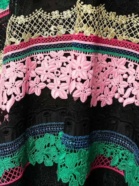Купить Valentino расклешенная полосатая юбка с вышивкой.