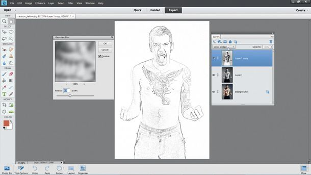 Step by step how to make the photo-to-cartoon effect: step 1