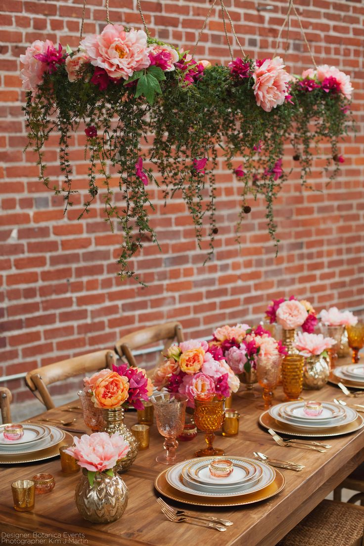 Look at all those gorgeous peonies! Decorate your wedding with artificial peonies from Afloral.com. They are available all year and always look gorgeous! Designer: Botanica Events Photographer: Kim J Martin Venue: Beatnik Studios