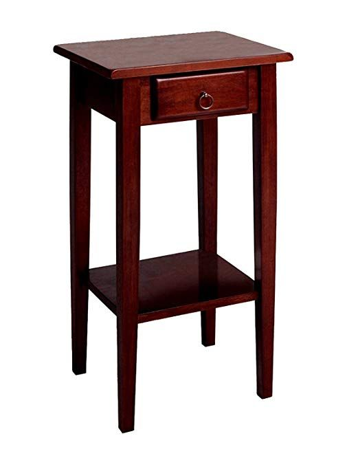 Narrow Phone Stand End Table With Storage Drawer Handle Rustic Clic Style Lower Bottom Shelf Tall