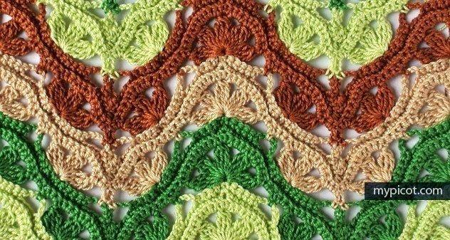 Многоцветный узор крючком