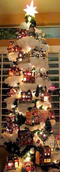Village Christmas Tree Print by Randall Weidner