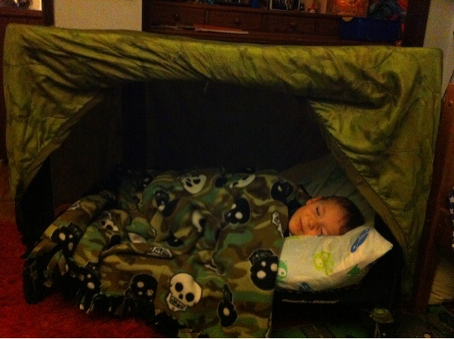 repurpose a play pen into a toddler bed