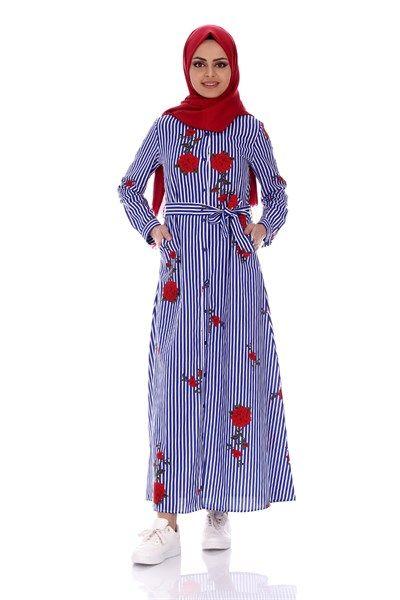 Çizgili Nakışlı Elbise 1095 - Mavi Elbise Modelleri - Kirazgiyim