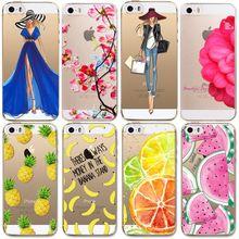 For Apple iPhone 5 5S SE Cases Soft TPU Flowers Friuts Girls lemon Painted Phone Bag Fundas Transparent Back Case Cover Capa