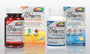Groupon - $19 for Two Bottles of Centrum ProNutrients Omega-3 or Fruit & Veggie Antioxidant supplement (Up to Half Off). Free Shipping.  Looking for iron and Vitamin D supplements, but this is still a good deal.