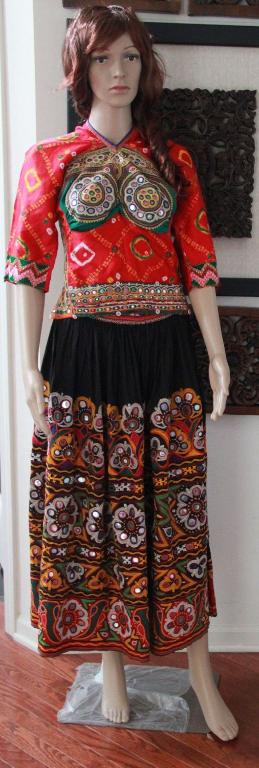 Beautiful Original Vintage Rabari Ghagra Choli with Kutchi hand embroidery accentuated with mirror work in Black and Red colour by EleganceByRajul on Etsy