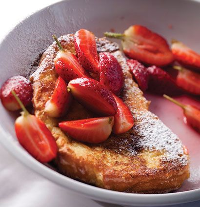 French toast with fresh strawberries in rose sugar syrup 8 free-range ...