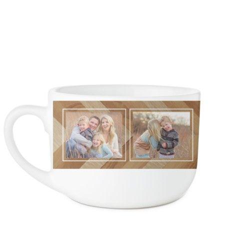 Mixed Wood Chevron Latte Mug, White, 25oz, Brown
