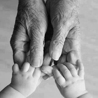 Grandparents hands with baby
