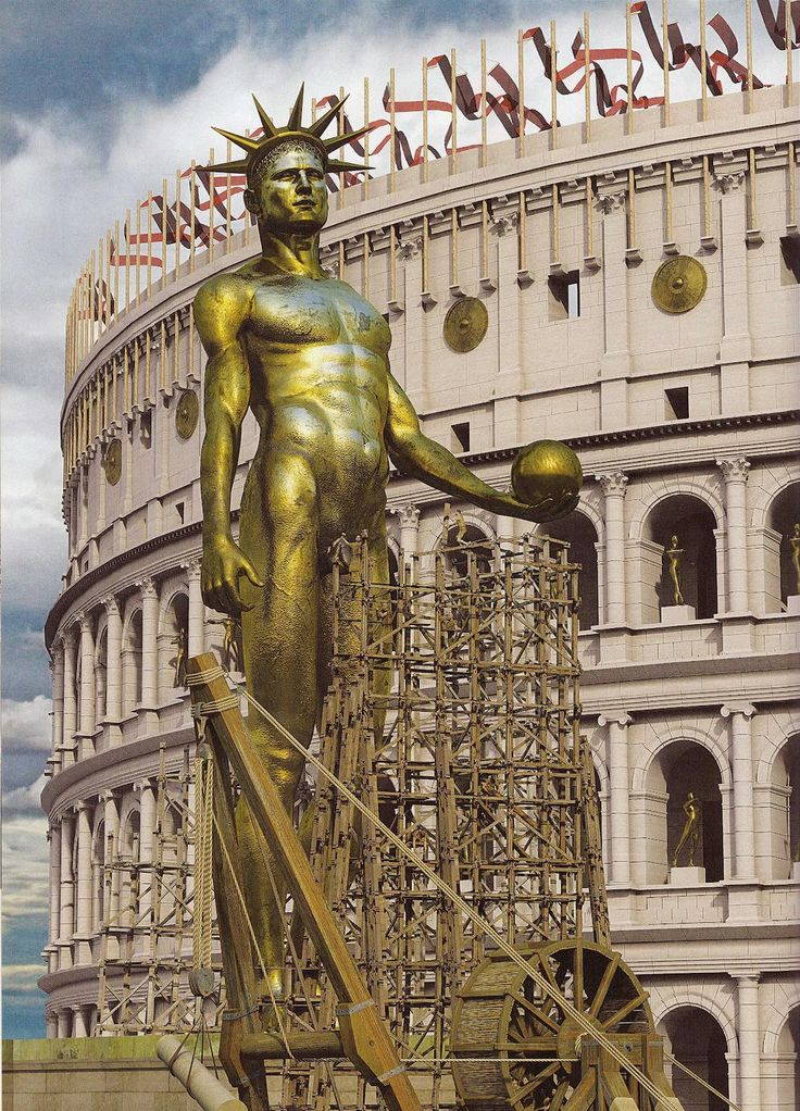 Reconstruction of the Colossus of Nero ~  Nero commissioned a 100-foot-tall bronze statue resembling himself and the Roman sun god, Sol. He holds a rudder on the globe which is a symbolic gesture of his power over land and sea.