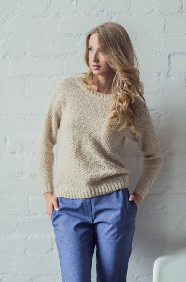 Hand knitted sweater from highest quality italian cashmere. 100% cashmere.  Please select color from the pallet or ask additional information.    Soft and gentle cashmere will perfectly warm...