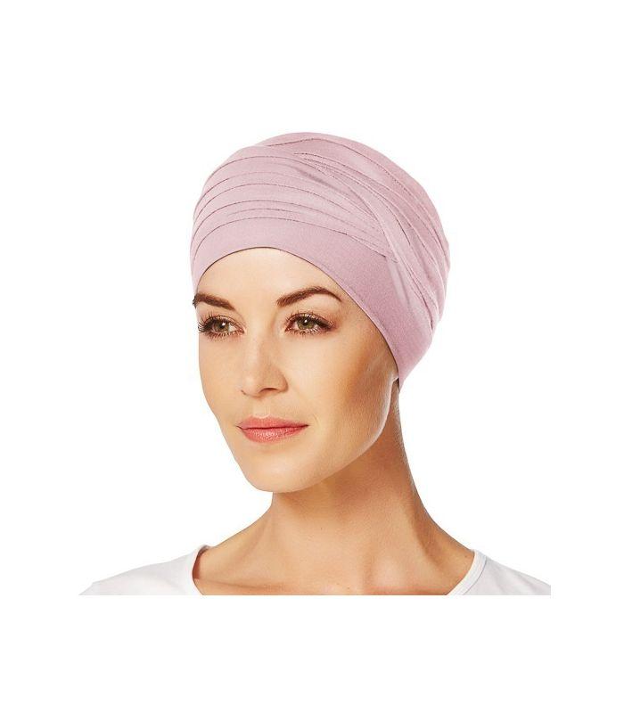 59 € - Bonnet chimio cancer bambou - Hindi - Cocoon rose pastel doux pour les femmes en chimio. Accessoire chute de cheveux, alopécie, pelade.