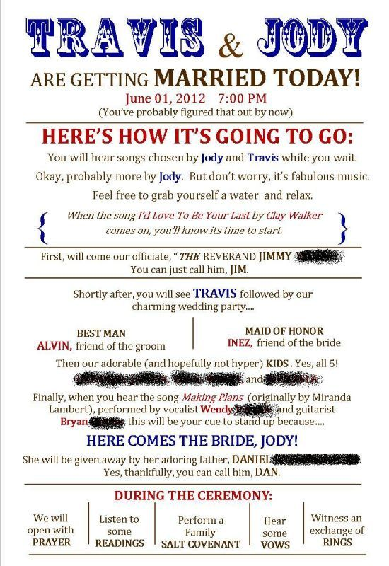 17 Best ideas about Funny Wedding Programs on Pinterest | Funny ...