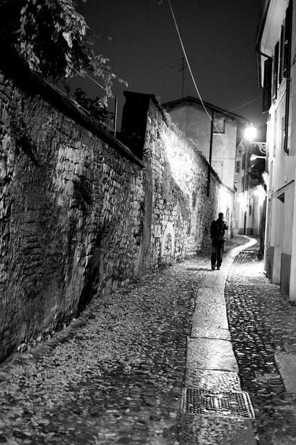 Alley at night, Brescia, Italy