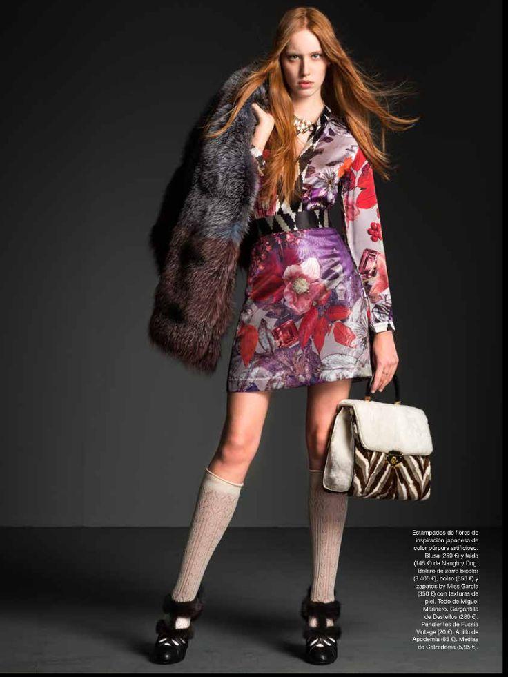 Amazing fashion editorial inside Spanish magazine La Moda en las Calles featuring Naughty Dog FW1617 shirt & skirt!  Photo | Paco Navarro Styling | Estupenda Jones