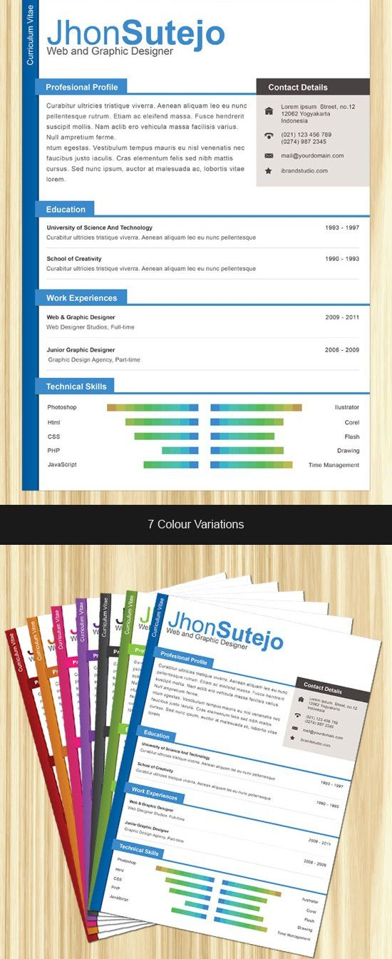 31 best cv images on Pinterest Curriculum, Resume and Creative - single page resume format download