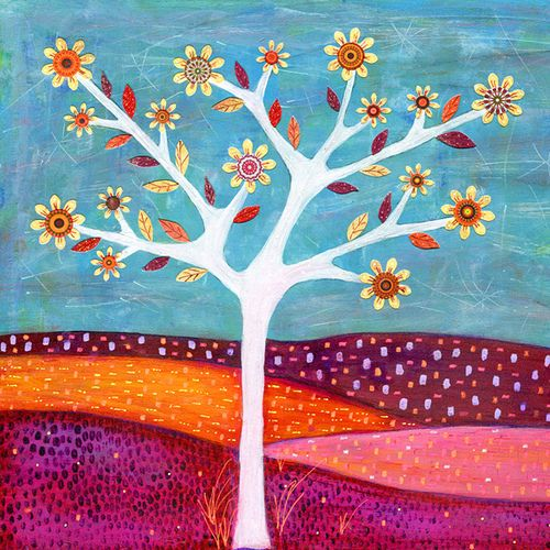 Amber Tree Art Abstract Collage Tree Painting by Sascalia | Flickr