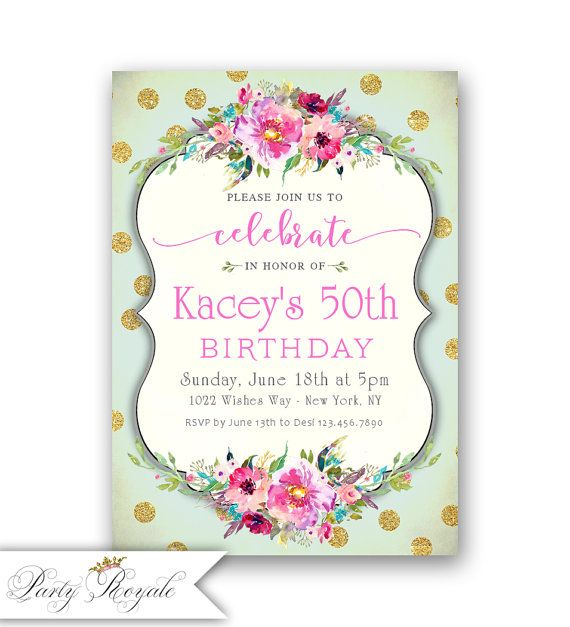 Surprise 50th Birthday Invitation Mint And Gold Fabulous Digital