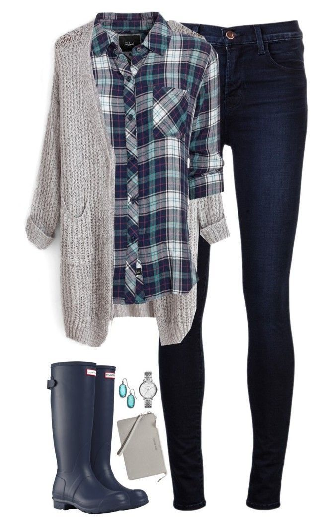 """""""Navy & teal plaid with gray cardigan"""" by steffiestaffie ❤ liked on Polyvore featuring J Brand, Rails, Hunter, Kendra Scott, MICHAEL Michael Kors and FOSSIL"""