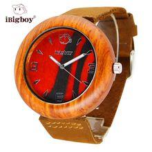 iBigboy Men Wooden Watches Lover's Gift Sandalwood 12 Clock Analog Women Watch Leather Strap Quartz Wristwatch Relogio Masculino(China (Mainland))