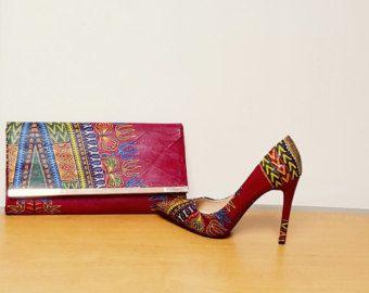 Chaussures imprimé africain Dashiki vert et jeu par ZabbaDesigns