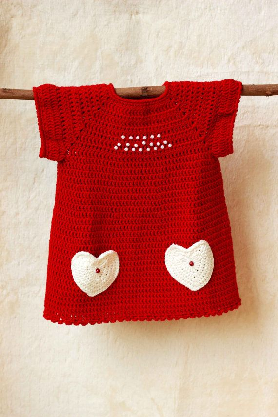 Christmas dress / Baby girl crochet dress / Red baby por GAMMAkids