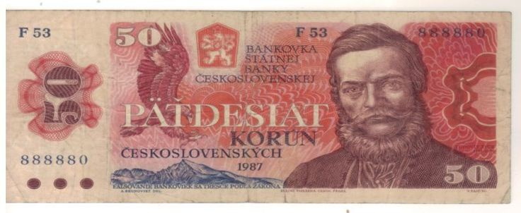 Czechoslovakia 50 Korun 1987 Banknotes Circulated.