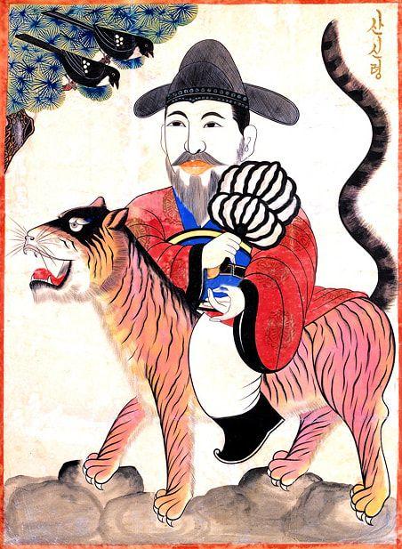 Mushindo ( 무신도 巫神圖)- Sanshin (산신령 山神靈) with Magpies