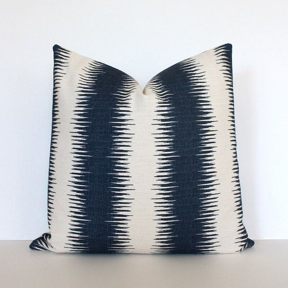 Striped Navy Designer Cushion Cover Accent Pillow Suzani