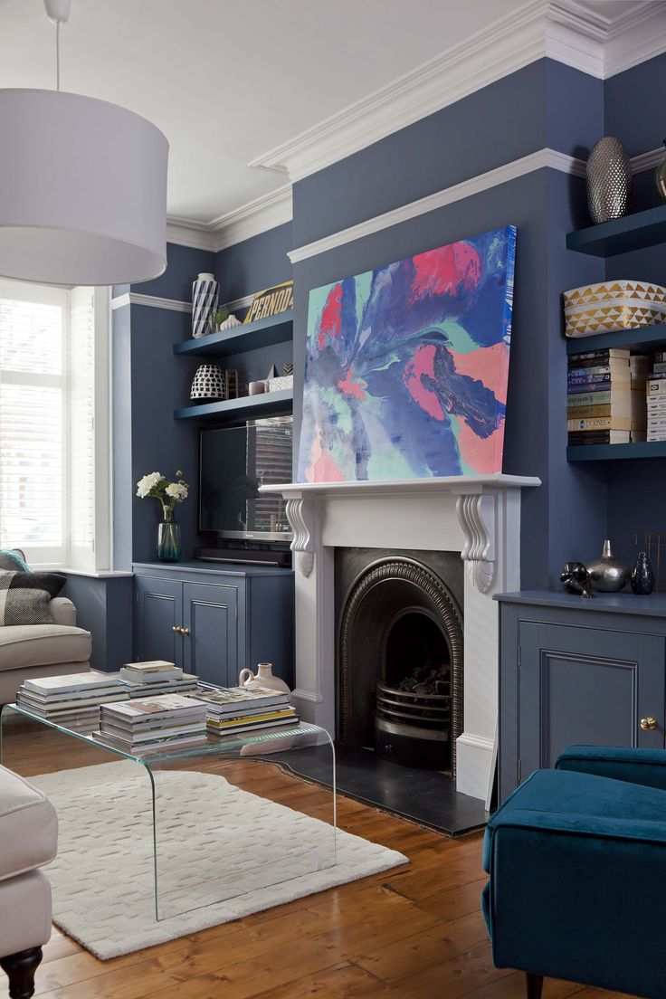 Home of Clare Elise Interiors. Art by Nicky Kriss. Walls Juniper Ash by Little Greene Paint Company
