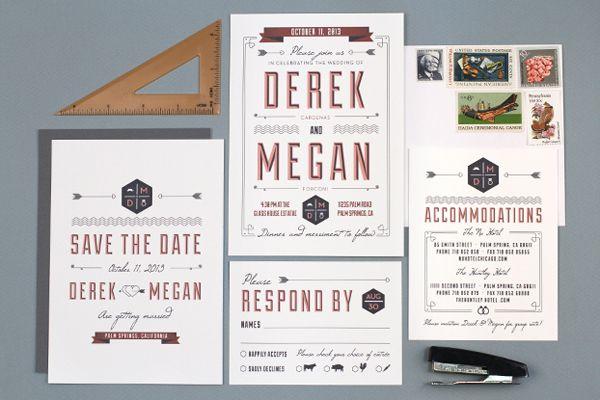 Modern vintage wedding stationery