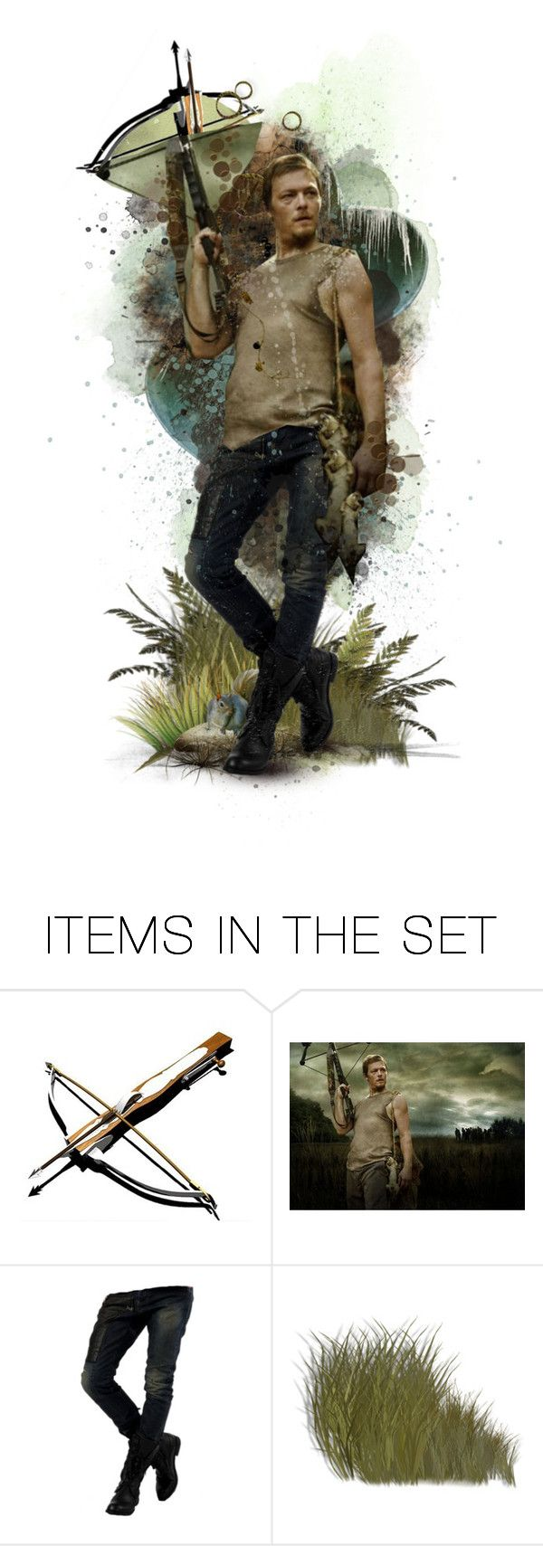 """""""keep calm and hide behind daryl dixon"""" by crazyfish ❤ liked on Polyvore featuring art, zombies, crossbow, daryl dixon, squirrels, paper doll, the walking dead and horror"""