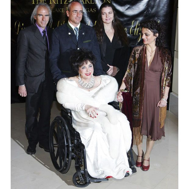 27 February 2007: Dame Elizabeth Taylor arrives with her children, Michael Wilding Jr, Christopher Wilding, Maria Burton and Liza Todd Burton, for her 75th birthday party at the Ritz-Carlton, Lake Las Vegas