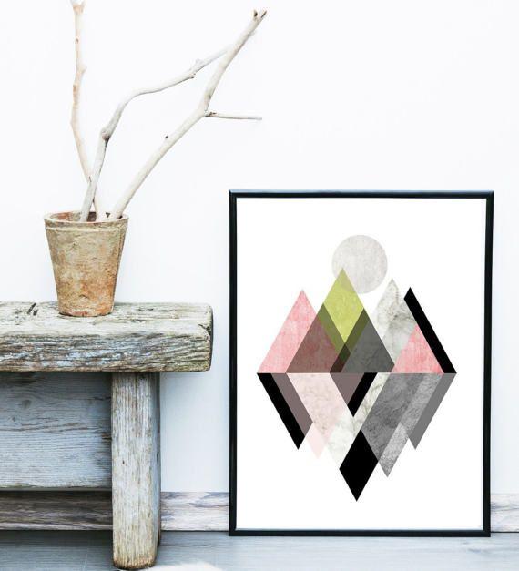 Arte escandinavo, triángulo de impresión, impresión de arte abstracto, Casa Decor, triángulo arte, láminas imprimir, arte de la pared, carteles, decoración de la pared  Arte Giclée impresión. Impreso en papel de trapo archivo, usando tintas de archivo, calidad.  Está disponible en una variedad de tamaños, simplemente haga clic sobre el desplegable menú para disponibilidad y precios. Si desea un tamaño no aparece, por favor solicite una cotización.  Hay gran valor, marcos de tamaño estándar…