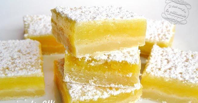 """Recette des carrés au citron issue du livre de Martha Stewart """"Biscuits, sablés, cookies, la bible des tout petits gâteaux""""."""