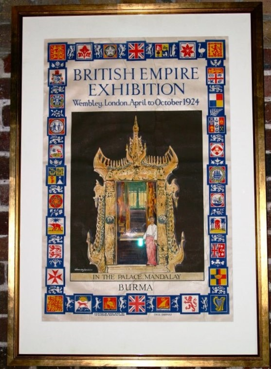 British Empire Exhibition Burma, 1924 - original vintage poster from AntikBar.co.uk beautifully framed with a wide border, looking great against the natural brick wall