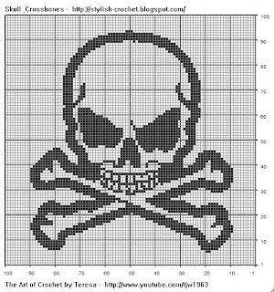 Free Filet Crochet Charts and Patterns: Filet Crochet Skull