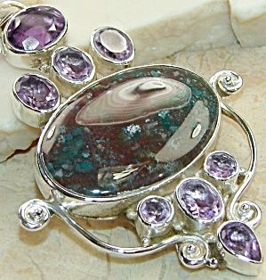 Big Bloodstone and Amethyst Pendant: Sterling Silver