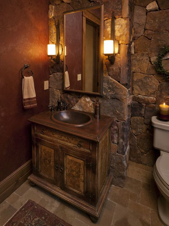 I like the colors - tumbled stone, marbled walls.  Powder Room Design, Pictures, Remodel, Decor and Ideas - page 42