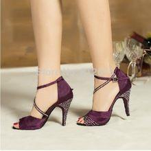 Yeni avrupa ve amerikan latin dans ayakkabıları kadın saten rhinestone balo salonu ayakkabı modern özel yüksek topuk latin dans ayakkabıları 6345(China (Mainland))