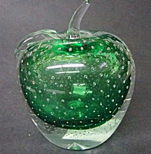 Green Glass Apple Paperweight. Doorstop (Furniture and Accessories ...