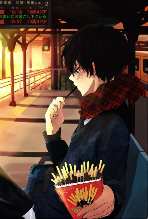 Cute anime guy with pocky :) I would love some pocky right now o miss it: