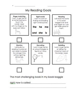 Kindergarten Goal Sheets: Reading, Writing, Math