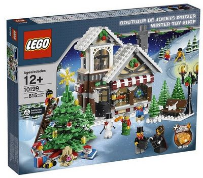 LOVE Lego's Christmas themed sets! This one is the Christmas toy shop and includes the toy shoppe, a beautiful Christmas tree, carollers, a snowman and more.  #lego #christmas