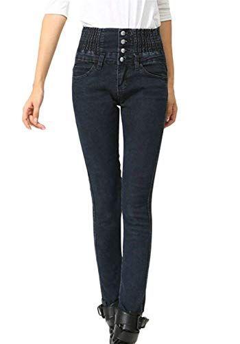 37cd433e3ab Pantaloni Skinny A Vita Donna da Elasticizzati Bassa Jeans Skinny Stretch  Giovane Monopetto con Tasche Pantaloni