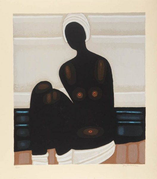 Jerzy Nowosielski 'Akt czarny' 1998 serigrafia barwna/papier 78x70 cm