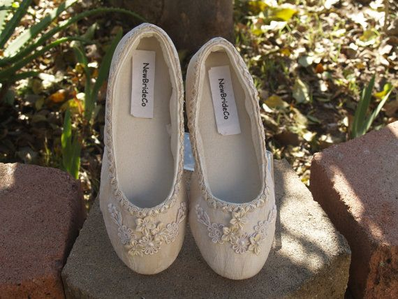 Beautiful Vegan Dressy Flat Shoes Champagne Super comfortable!!!!  COLORS: IVORY, CHAMPAGNE  Adorned with Satin flowers, and lace appliqués; the