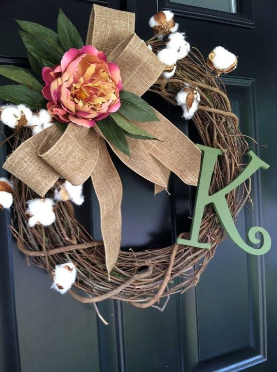 Fall Wreath /Autumn Wreath , late Summer Wreath , Cotton , Burlap , Rose , Monogram , Sage , Country Wreath , Monogrammed Wreath , Wreath on Etsy, $50.00
