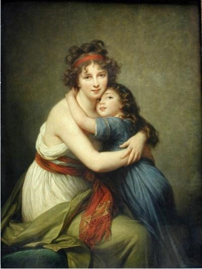 화가와 딸의 초상 - 엘리자베스 비제 르 브륑  1786. 루브르 박물관.  엘리자베스는 마리 앙투아네트의 전속 화가였습니다. 그녀는 당시 유행하던 거추장스러운 드레스를 좋아하지 않았다고 합니다. 그림 속에서도 그녀와 그녀의 딸은 간단하고 편안한 옷차림새를 하고 있는 것은 그 때문입니다. 서로에 대한 애정이 나타난 모녀의 모습이 사랑스럽네요.